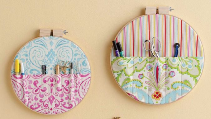 Embroidery Hoop Fabric Wall Pockets
