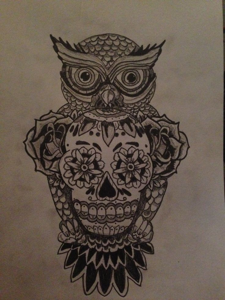 110 best images about idee tatouage on pinterest spirals for Owl and sugar skull tattoo