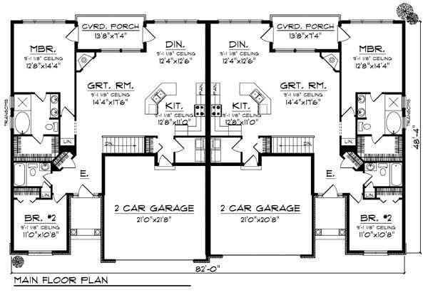 First Floor Plan of European   Multi-Family Plan 73452