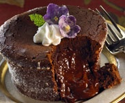 Molten chocolate cake.  I especially love the gooey warm center.