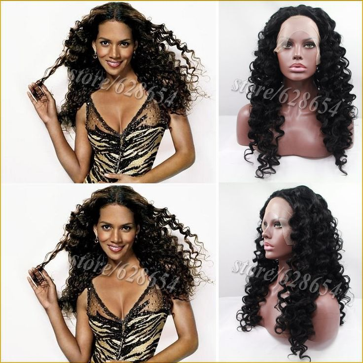 (44.99$)  Buy here  - Stock Cheap Long Curly Halle Berry's Sexy Black Hairstyles Glueless Synthetic Curl Lace Front Wig Heat Resistant For Black Women