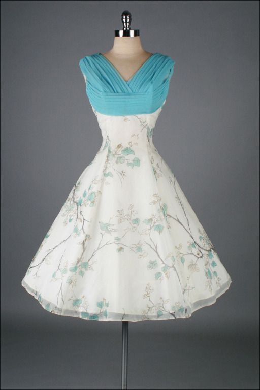 1950's White Chiffon Bird Print Cocktail Dress