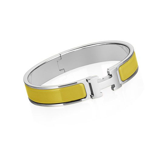 "Clic H  Hermes narrow bracelet  Chartreuse enamelSilver and palladium plated hardware, 2.5"" diameter, 8"" circumference, 0.5"" wide."