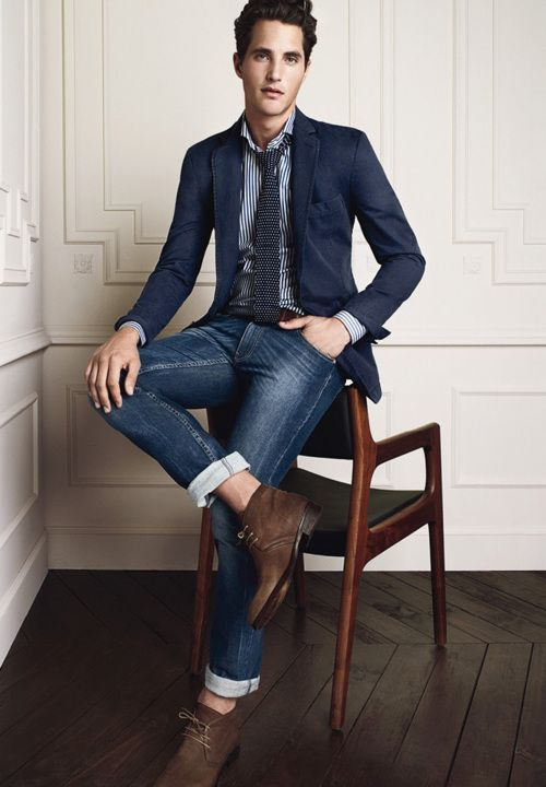 Shop this look for $155: http://lookastic.com/men/looks/blazer-and-tie-and-longsleeve-shirt-and-jeans-and-desert-boots/223 — Navy Blazer — Navy Polka Dot Tie — White Vertical Striped Longsleeve Shirt — Navy Jeans — Dark Brown Suede Desert Boots: