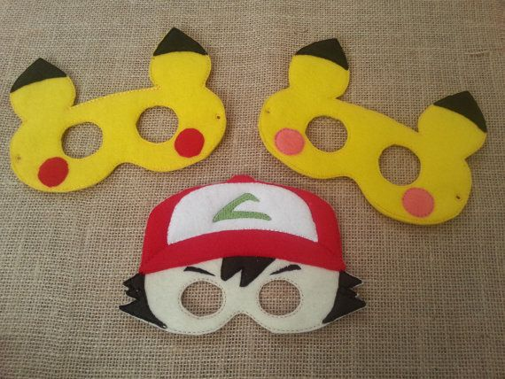 Pokemon Mask-Felt Masks- Felt Dress Up Masks - Ash Ketchum, Brock, Misty…