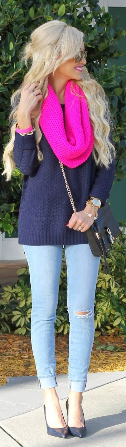 Shop this look on Lookastic:  http://lookastic.com/women/looks/sunglasses-scarf-bracelet-bracelet-oversized-sweater-watch-crossbody-bag-skinny-jeans-pumps/8130  — Gold Sunglasses  — Hot Pink Knit Scarf  — Hot Pink Leather Bracelet  — Gold Bracelet  — Navy Oversized Sweater  — Gold Watch  — Black Leather Crossbody Bag  — Light Blue Ripped Skinny Jeans  — Black Leather Pumps