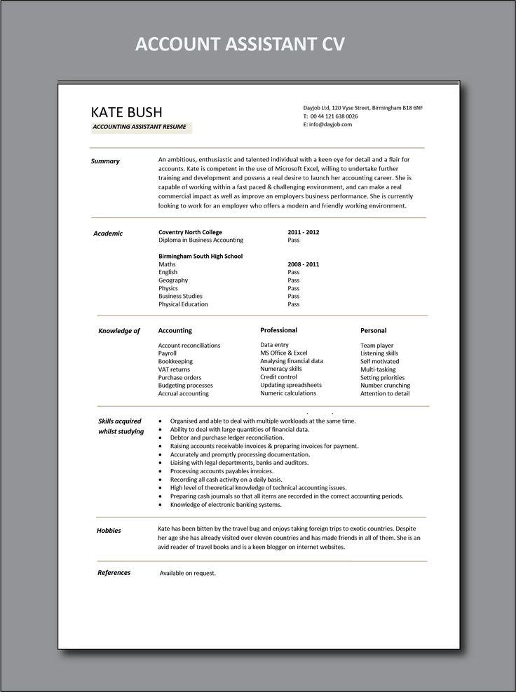 accounts assistant CV, Cashbook reconciliations, resume