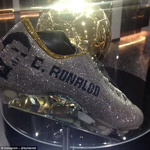 The boots are on display at Museu CR7 in Medeira along with his four Ballon D'Or trophies