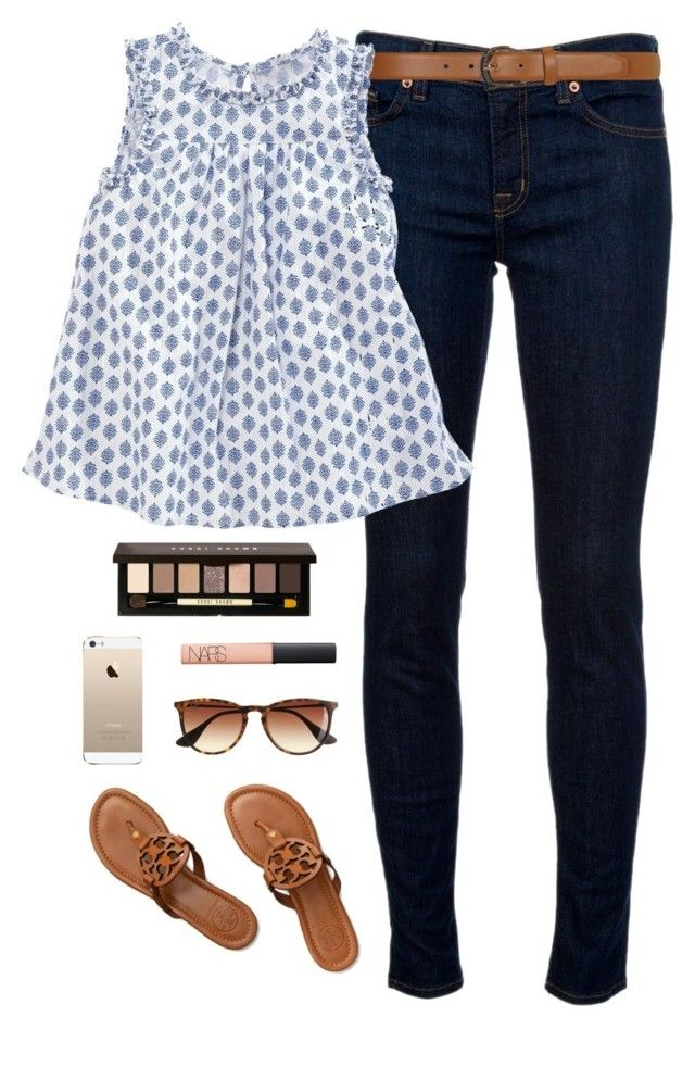 """patterned tank"" by classically-preppy ❤ liked on Polyvore featuring mode, J Brand, Dorothy Perkins, Tory Burch, Bobbi Brown Cosmetics, J.Crew et NARS Cosmetics"