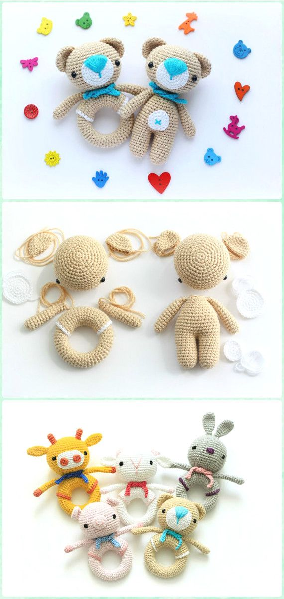 Amigurumi Crochet Teddy Bear Rattle Free Pattern - Amigurumi Crochet Teddy Bear Toys Free Patterns