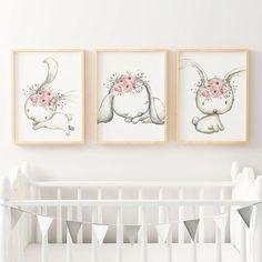 Woodland Boho Floral Bunny Nursery Wall Art Print Set | Baby, Girls