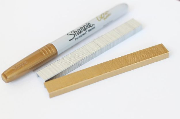 Cool DIY Sharpie Crafts Projects Ideas - Dazzling Gold Painted Staples Make Awesome DIY Office and School Supplies