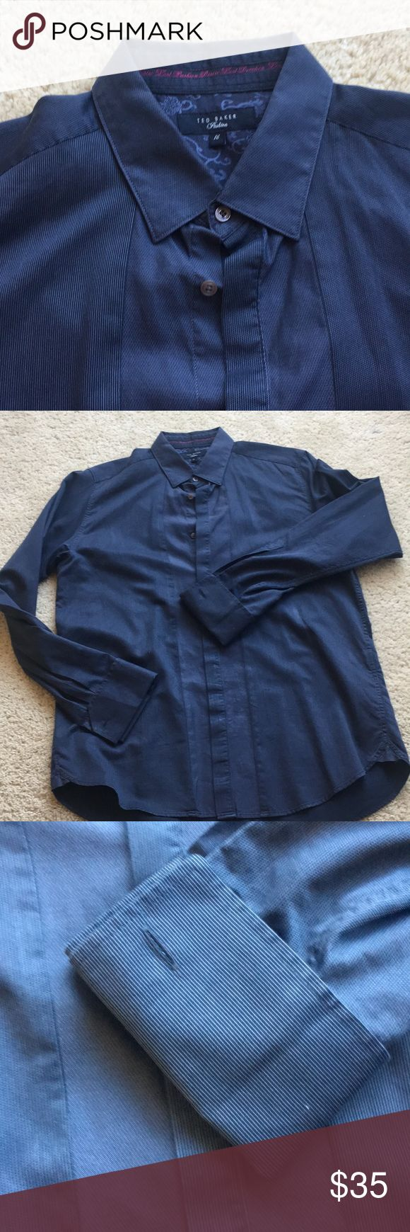 Ted Baker Men's Button Down Ted Baker quality is top notch. Very soft. Detail running through front of shirt. Sleeves need cufflinks. Color is between black/navy. Very chic. Ted Baker Shirts