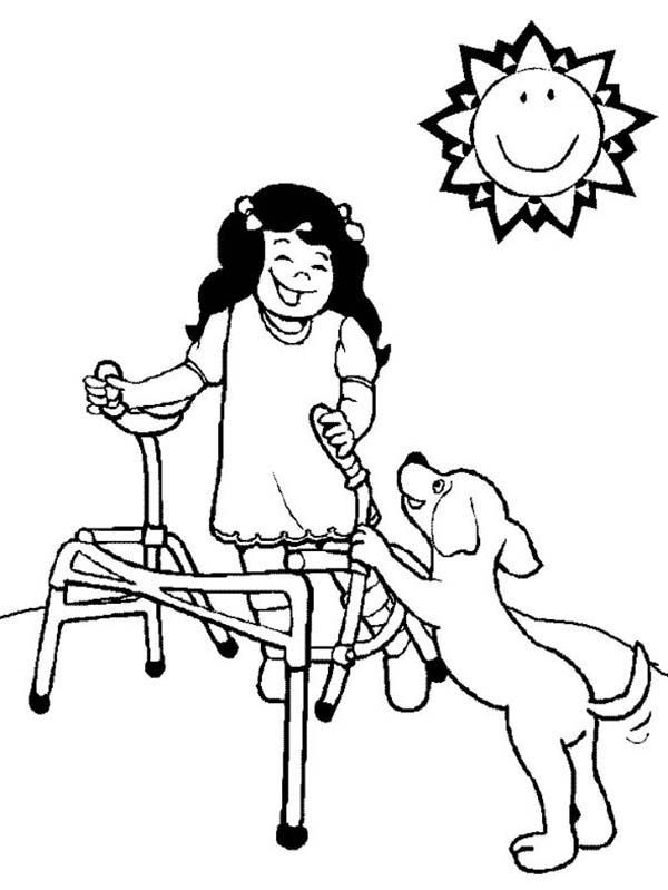 A Girl with Disability Playing with Her Dog Coloring Page