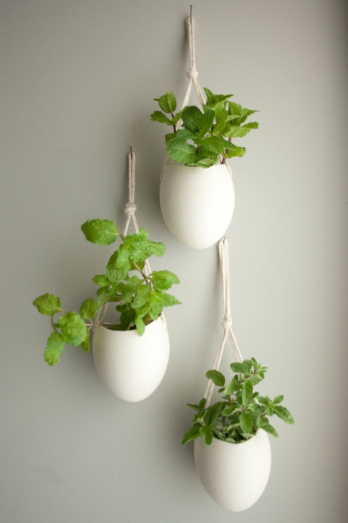 set of 3 small porcelain and cotton rope hanging planters