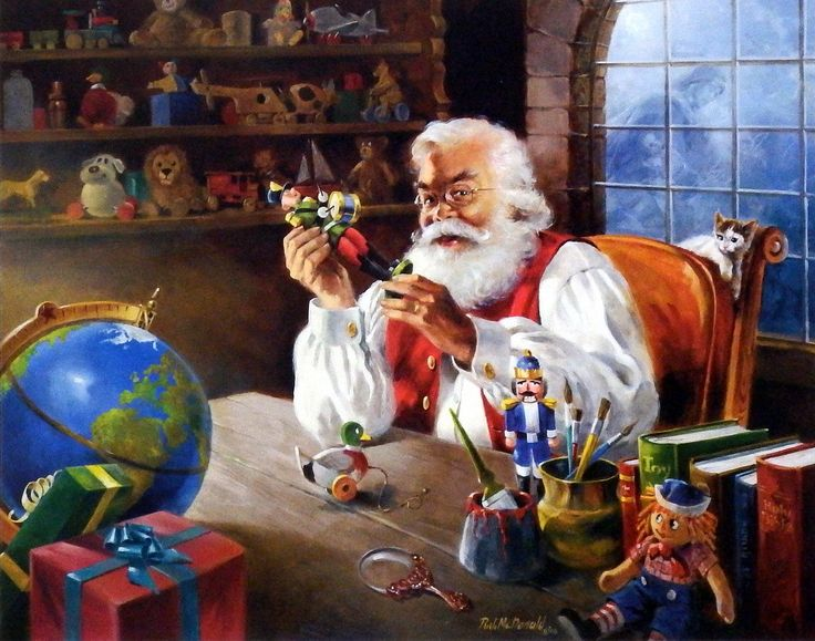 "Santa is checking the gifts before his Christmas Delivery Image Size 20""x 16"" Comes with Certificate"