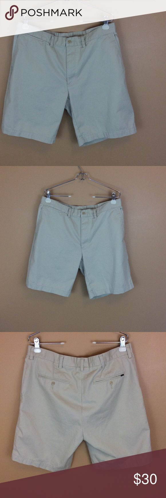 """Polo Ralph Lauren Classic Khaki Shorts Size 38 For sale is this great pair of classic khaki Polo shorts. Light tan with pockets, flat front, 100% cotton  Men's Size 38  Rise 11""""  Inseam 9""""  Waist 36""""  THIS ITEM HAS BEEN ALTERED. PLEASE SEE MEASUREMENTS. Polo by Ralph Lauren Shorts Flat Front"""