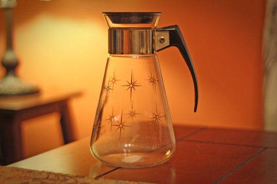 Vintage Corning Glass / Gold Carafe by panoplygoods on Etsy
