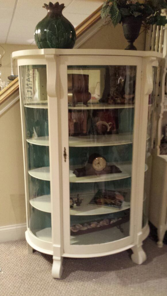 Antique Curved Glass Painted Curio French And Fabulous