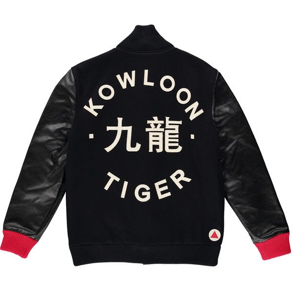 Kowloon Tiger - The Tiger Jacket - Red (11,280 MXN) ❤ liked on Polyvore featuring men's fashion, men's clothing, men's outerwear, men's jackets, mens slim fit leather jacket, mens fur lined leather jacket, mens leather flight jacket, mens bomber jacket and mens red leather jacket