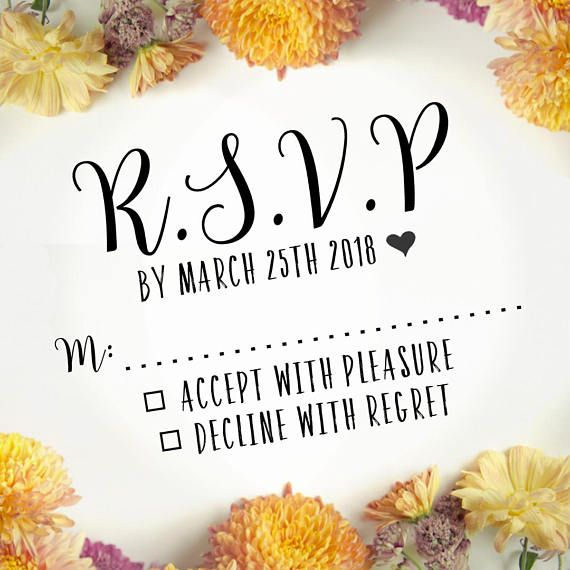 Custom RSVP Stamp Wedding Invitations Modern Curly Font