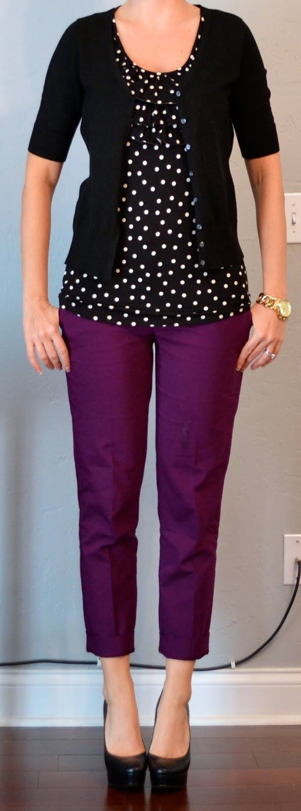 purple cropped pant, black & white polka dot blouse, black cardigan // totally just bought purple skinny jeans from Old Navy and need some more inspiration!
