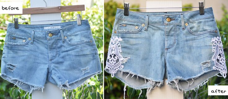 DIY Lace Jean Shorts. Get an old pair of jeans, turn them into shorts, but hem them at the bottom so they're not distressed. Add lace.