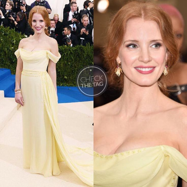 """16 Likes, 3 Comments - Check The Tag (@checkthetag) on Instagram: """"Who: Jessica Chastain Wearing: Prada Where: 2017 Met Gala Styled by: Elizabeth Stewart"""""""