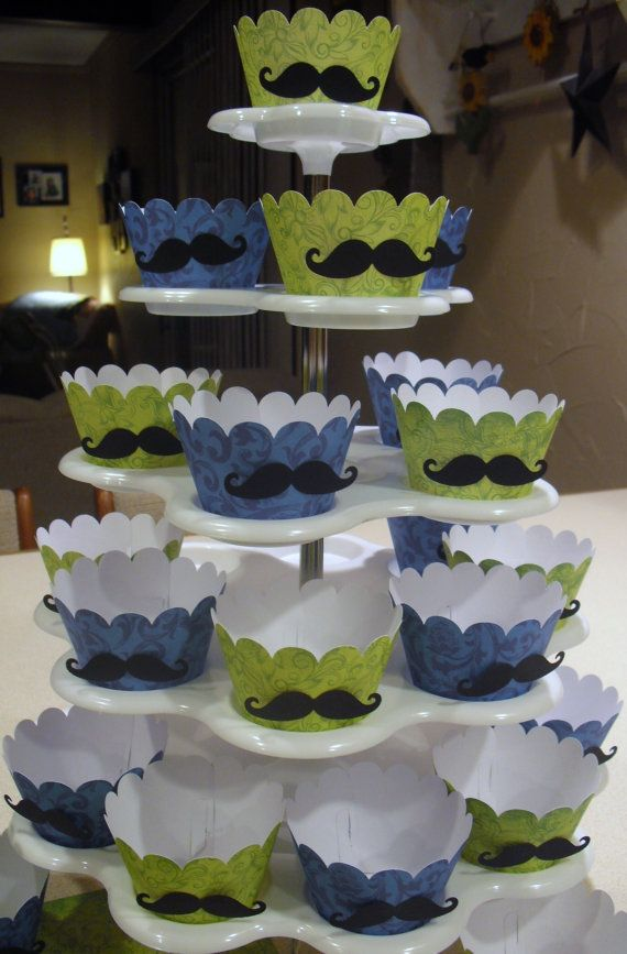 MUSTACHE BASH Lil Man Baby Boy Shower Cupcake by TheScrappyKat, $7.00 - Dallas' 1st birthday!