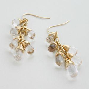 正規販売店♪送料無料♪【RueBelle Designs/ルーベルデザインズ】Earrings 14k gold filled chain & findings topaz カラー/Crystal & Gold【楽天市場】