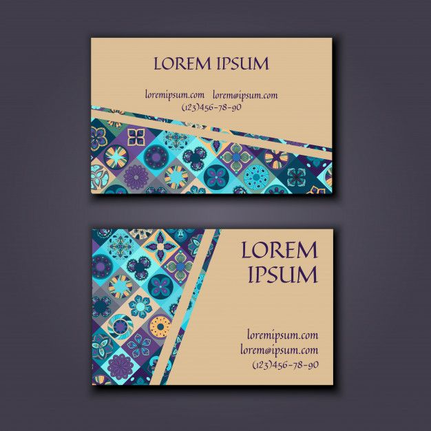 Business card Design Template with Ornamental geometric mandala pattern. Premium Vector