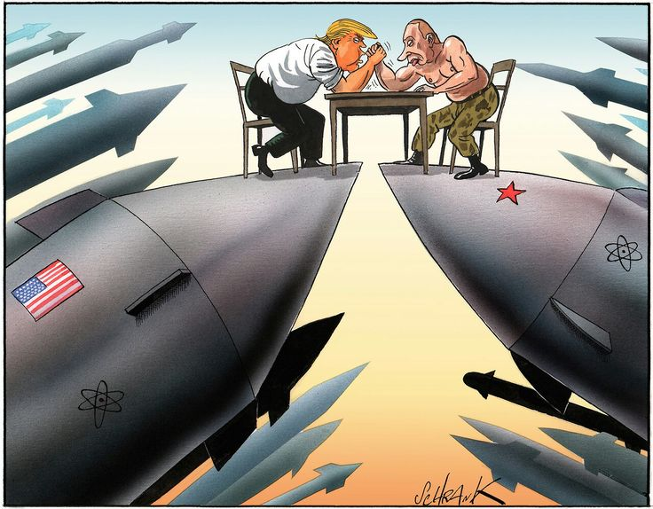 Shrank  (2017-04-xx)   USA  - Russia: These are not the guys one would want to see in charge of most of the world's nuclear weapons. # Donald Trump # Vladimir Putin # nuclear weapons #arm wrestling #new cold war
