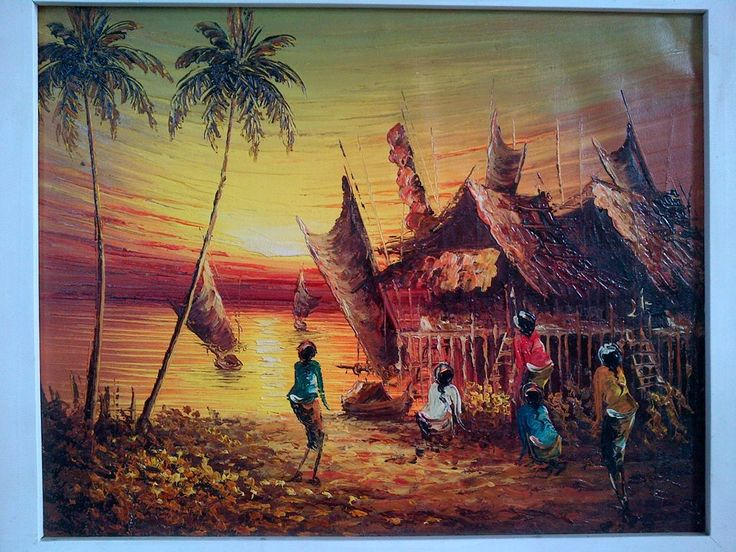 Kampung Nelayan, oil on canvas, 36 x 46 cm