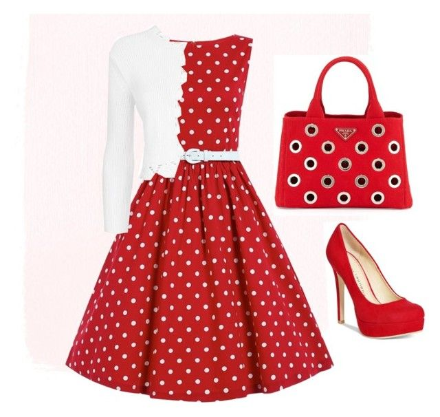 """""""Red Sunday Morning outfit"""" by apostolicprincess2013 on Polyvore featuring Maje, Chinese Laundry and Prada"""