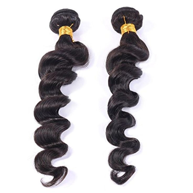 """Brazilian Loose Wave 2pcs 200g Total 100% Unprocessed Virgin Human Hair Weaves Natural Black #1B (10"""" 10"""") - Brought to you by Avarsha.com"""