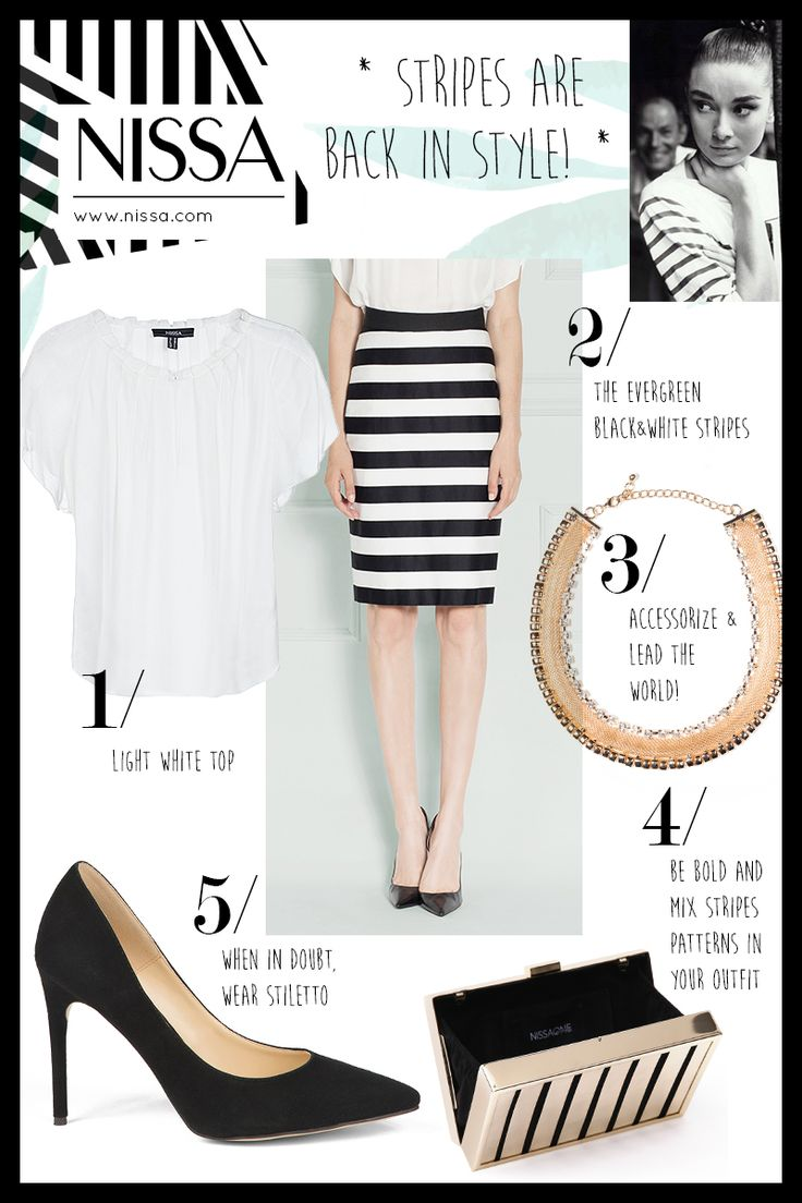 NISSA Outfit Inspiration for today  #nissa #outfit #style #look #striper #evergreen #stiletto #clutch #necklace #top #black #white #fashion #inspiration #fashionista #shopping #accessories #skirt