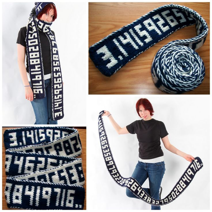 Happy Pi Day! Now Make This Double-Knit Pi Scarf, Would Ya? It Keeps Going and Going #Pi #PiDay #knitting