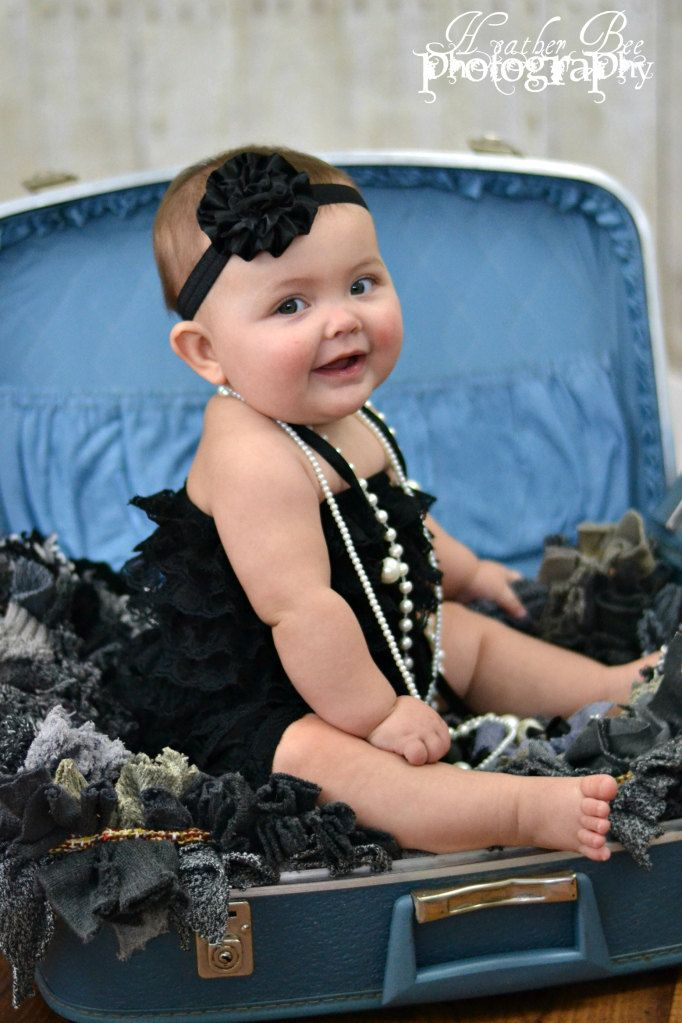 Baby Headband Black Satin Rosette Headband Cute Baby Photo Prop. $7.00 USD, via Etsy.
