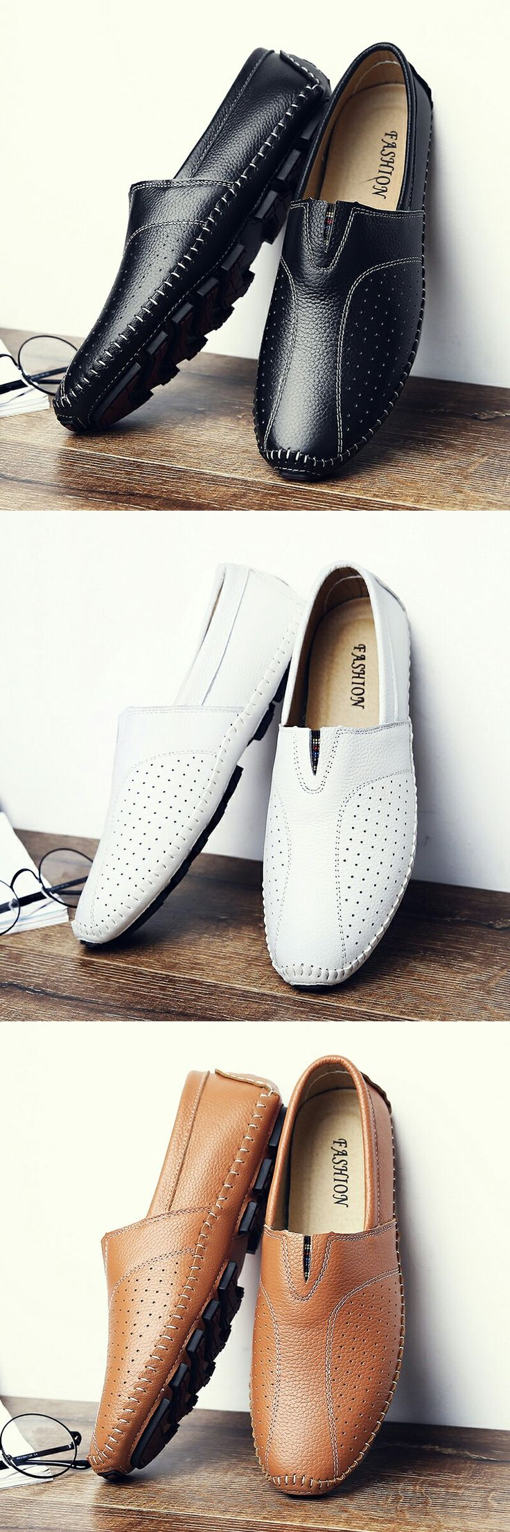 US $28.5 <Click to buy> Comfortable Handmade Leather Casual Men's Flats
