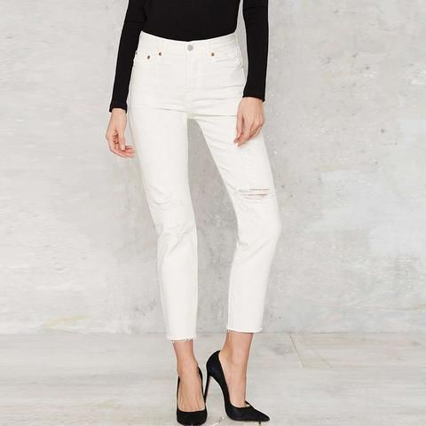 Women Fashion Solid White Holes Ragged Jeans LAVELIQ