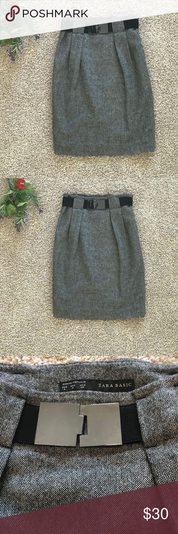 Zara Basic Grey Wool Skirt Size S Zara Basic Grey Wool Skirt. Size S. With Black Belt. In excellent Condition, only worn a few times. Zara Skirts