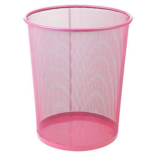 UOOU Mesh Round Wastebasket Recycling Bin, 18 Quart(4.5 Gallon )Capacity, Pink  Mesh wastebasket offers a sleek industrial look and simple everyday convenience  Made of durable steel wire mesh; reinforced with solid metal base and solid edging along bottom and top rim  Large, round opening and tapered shape make sure trash goes into the can, not around it; wire mesh keeps the wastebasket well-ventilated, preventing the buildup of moisture and smells  Gently flared, cylinder shape with ...
