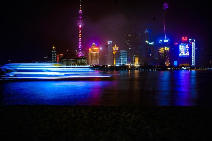 Trail of Lights - Shanghai River View [1080 x 721] [OC]