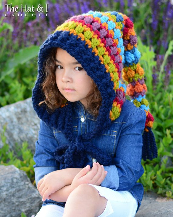 CROCHET PATTERN - Bohemian Nights Hoodie - crochet pixie hood pattern, boho hood, fairy hood (Child & Adult sizes) - Instant PDF Download