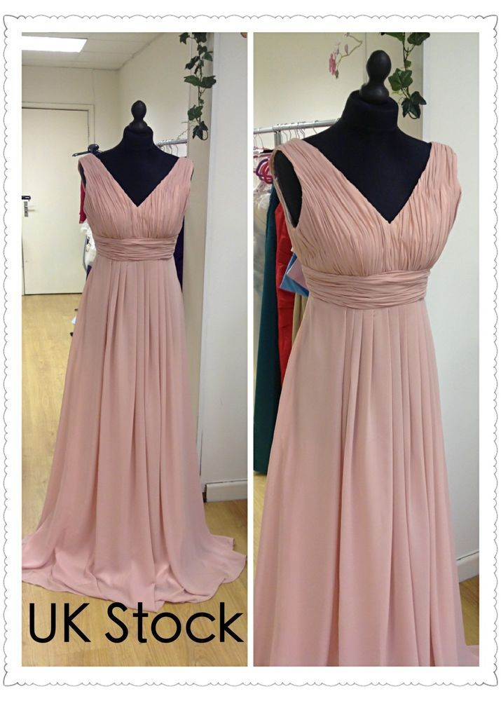 dusky pink Grecian style prom/evening/wedding bridesmaid dress size 8-22 ebay £40