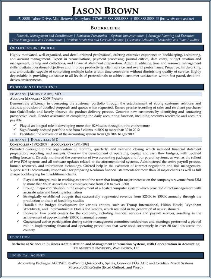 Bookkeeper Resume (Sample)