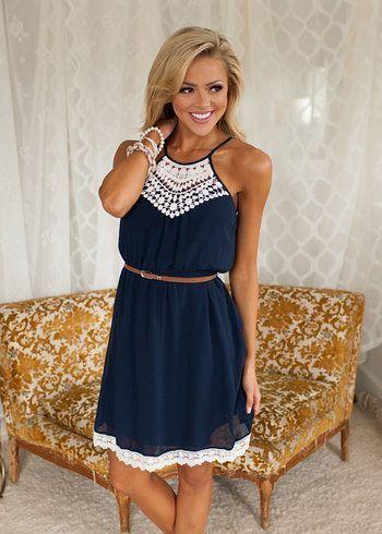 cool Navy belted summer dress. Stitch fix spring summer 2016....