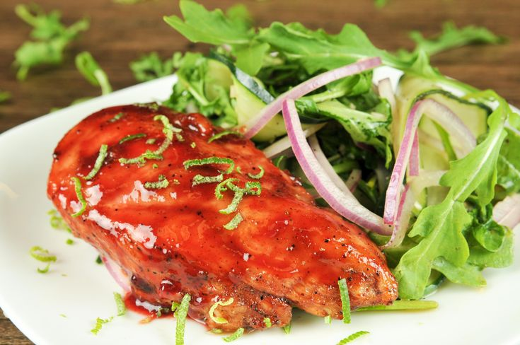 Raspberry Chipotle BBQ Chicken With Baby Arugula and Onion Salad
