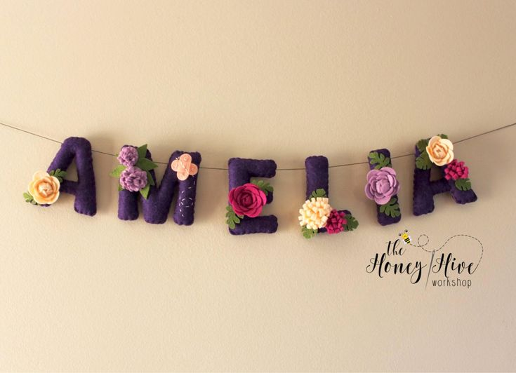 Felt name banner, nursery decor, felt letters, flower name banner, girl, floral nursery decor, flower baby shower banner, felt name by TheHoneyHiveWorkshop on Etsy https://www.etsy.com/ca/listing/521910030/felt-name-banner-nursery-decor-felt
