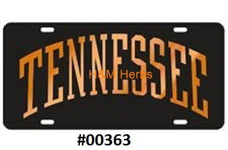 Tennessee Black Back Ground with Orange (Tennessee) Laser Cut Inlaid Mirror Tags #00363